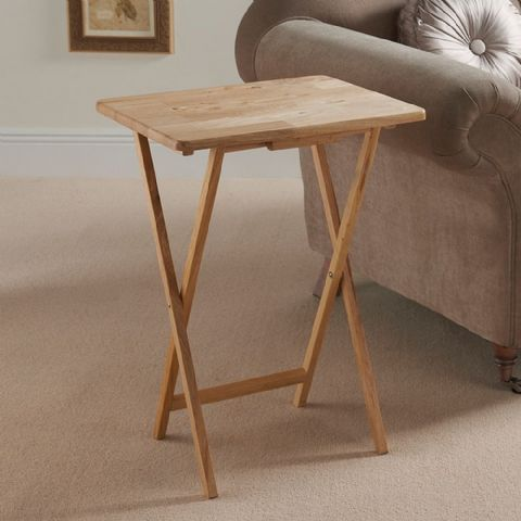 Small Natural Wooden Folding Side Table